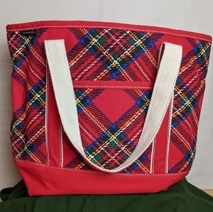 Lands' End Holiday Plaids Large Canvas Tote